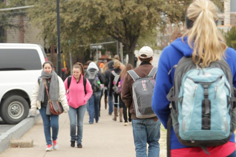 Students dressed warmly on the University of Texas campus today. UT, like most Austin-area schools and governments, started at 10 a.m. today due to inclement weather.