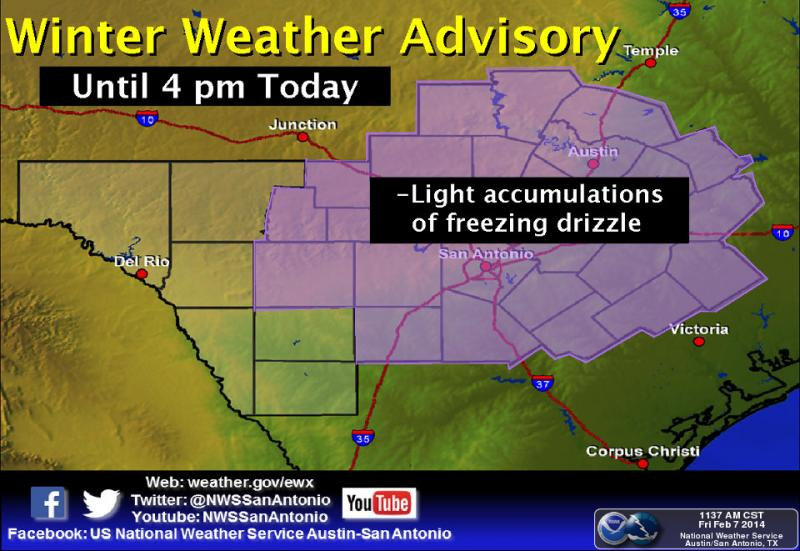 A Winter Weather Advisory is in effect from until noon today.