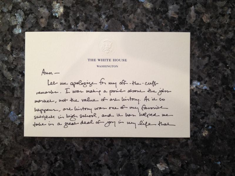 The front of Pres. Obama's letter to UT Professor Ann Johns.
