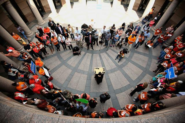 Abortion-rights activists took part in an event with Democratic lawmakers at the Texas State Capitol on Feb. 20, 2014.