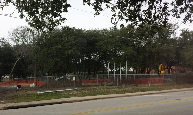 Construction of the cell phone tower at Pond Springs Elementary School in Round Rock. School officals say they're going to try to get out of the contract to build a cell phone tower on campus after parents complained.