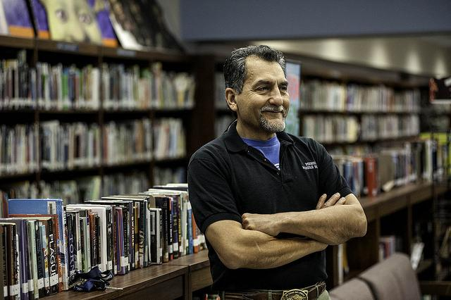 For the past 11 years, Ivan Cervantes has served as the librarian at Mendez Middle School. He began a program that allows students to use computers and play learning-oriented games before school each morning.