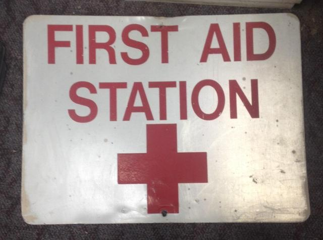"This weathered ""First Aid Station"" sign is currently going for $550."