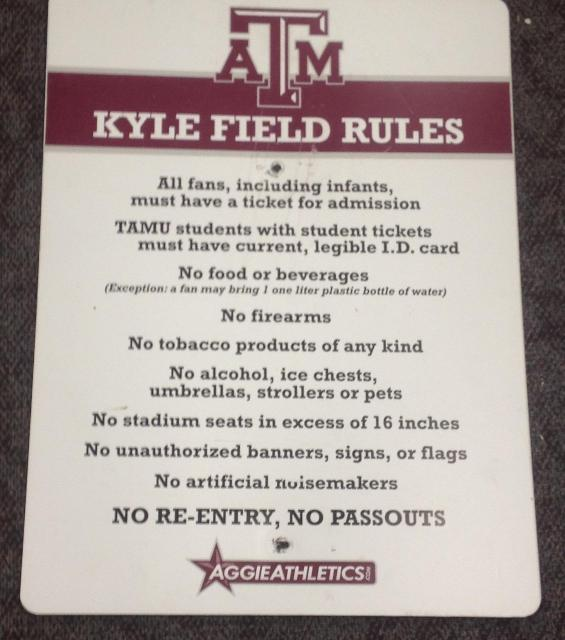 """At $1,250 as of this writing, the """"Kyle Field Rules"""" sign is going for the highest value."""