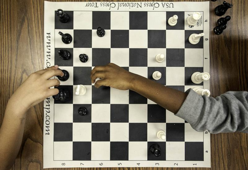 """Students play chess during """"Morning Club."""""""