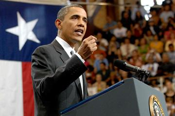 President Obama speaking on the U.T. Austin campus about the importance of education, August 9, 2010