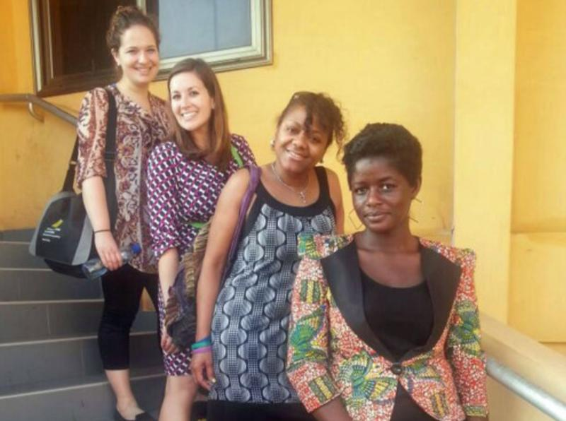 The American journalists visiting Ghana are (left to right) Zoe Fox with Mashable, KUT's Laura Rice and Gwendolyn Glenn with WYPR. Vivian Affoah (far right) is with the Ghana-based host organization Media Foundation for West Africa.