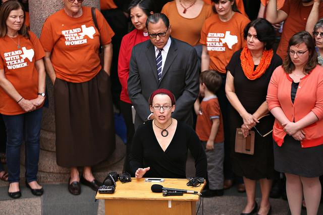 Dr. Christina Sebestyen speaks at an abortion-rights event at the Texas State Capitol on Feb. 20, 2014.