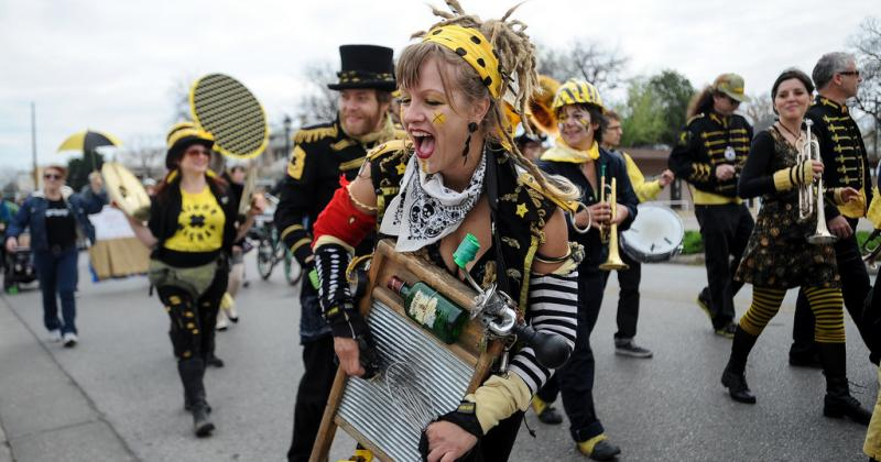 The Minor Mishap Marching Band performed at Austin's fourth annual Honk!TX parade.