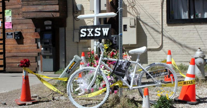 The memorial outside the Mohawk nightclub on Red River Street, where two were killed and 23 injured last week.