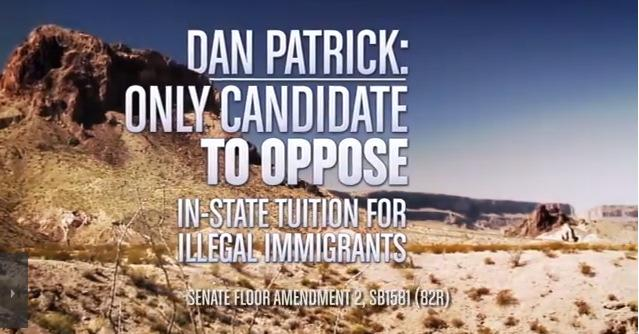 In a commercial, Lt. Gov candidate Dan Patrick touts his opposition to in-state tuition at Texas universities for qualifying undocumented children.
