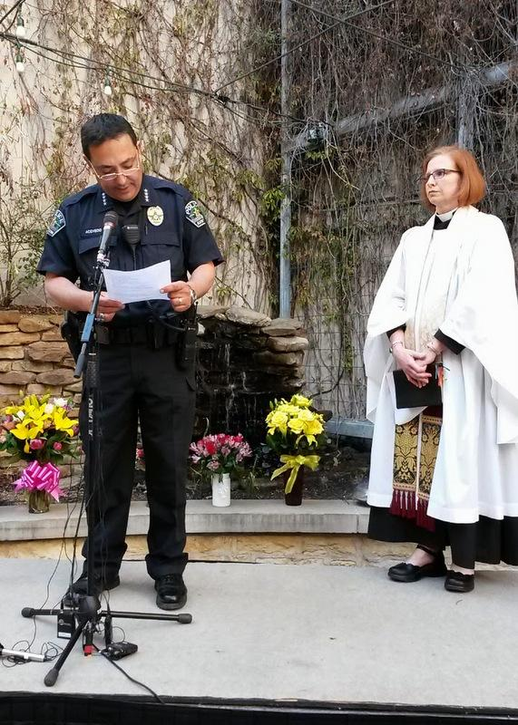 Police Chief Art Acevedo and the Rev. Katie Wright at Thursday's memorial.