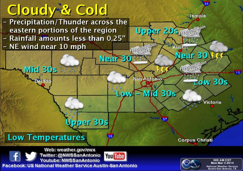 Tonight will be cloudy and cold, with precipitation increasing after 8 p.m.