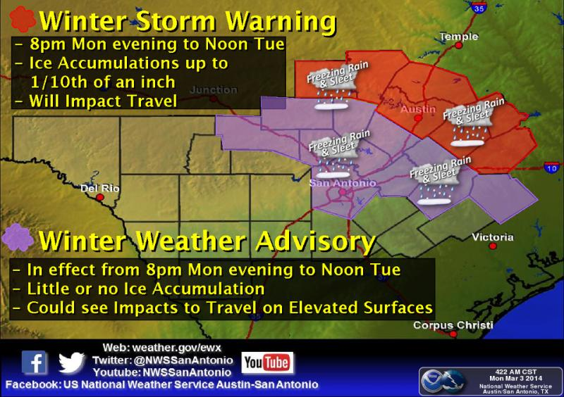 While the National Weather Service is forecasting sleet and freezing rain, accumulation is not expected.
