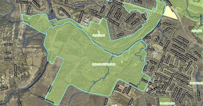 A map of Onion Creek Metropolitan Park. The area takes up 555 acres of land in southeast Travis County.
