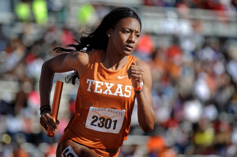 University of Texas senior Briana Nelson in the Women's 4x400 Meter Relay Invitational at the Texas Relays, Saturday, March 29. Texas won the race with a time of 3:26.38, more than a second ahead of second place.