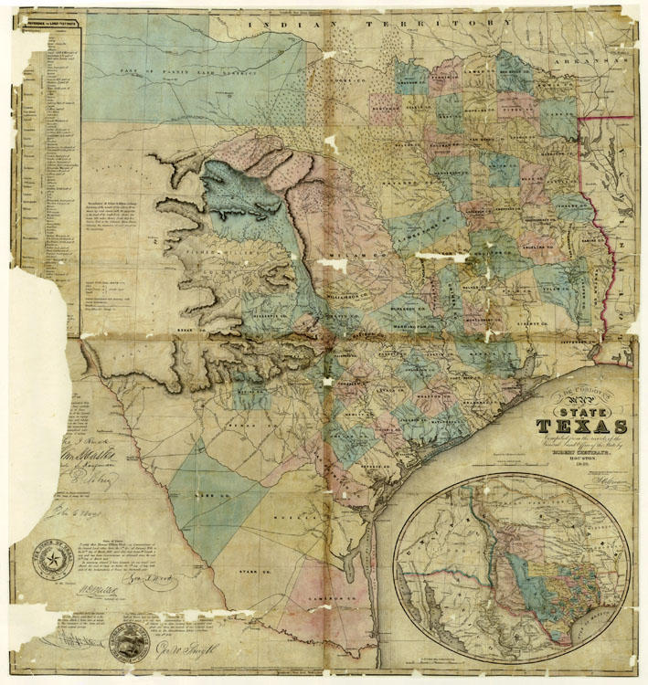 This 1849 map of Texas was compiled from land office records – and is currently available for sale on the land office's website.