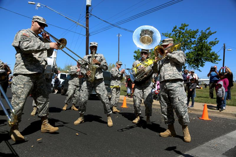 This band of armed forces members was one taking part in Honk!TX last year.
