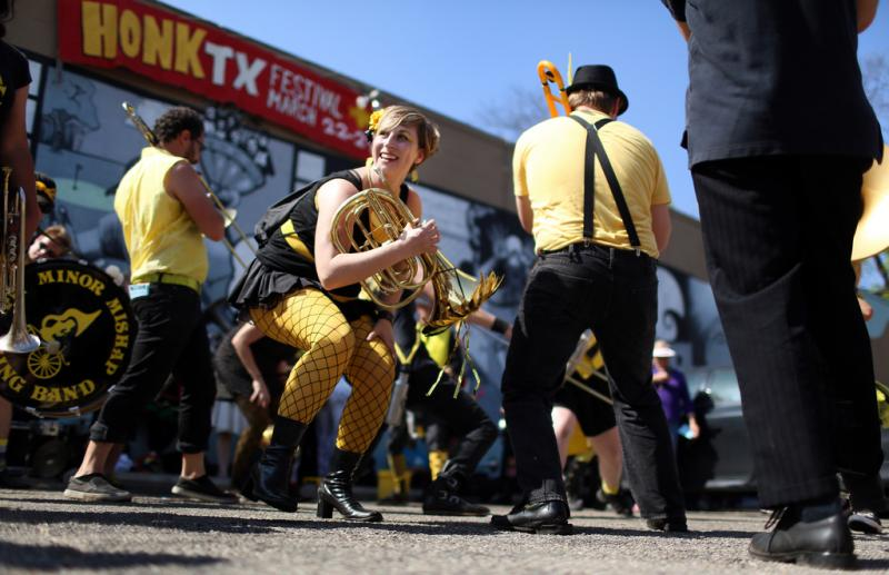 Members of the Minor Mishap Marching Band perform at Honk!TX in 2013.