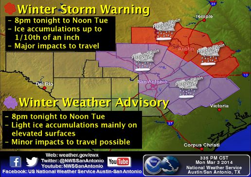 Warning area includes Travis, Williamson, Burnet and Bastrop Counties