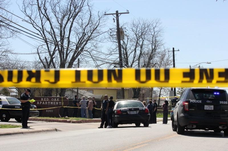 Police surrounded the scene of a sergeant-involved shooting on Berkman Drive on March 18, 2014.