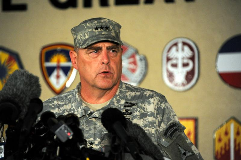 Lieutenant General Mark Milley talks to reporters about the shooting at Fort Hood that left four people, including the shooter, dead and 16 wounded on April 2, 2014.