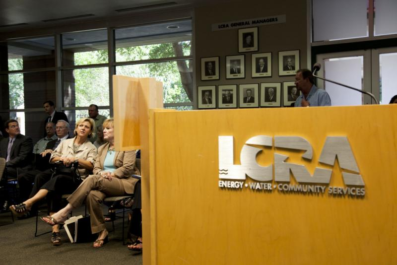 Community members attending an LCRA meeting in 2011. Phil Wilson, the water authority's new general manager, could take home over half a million dollars annually.