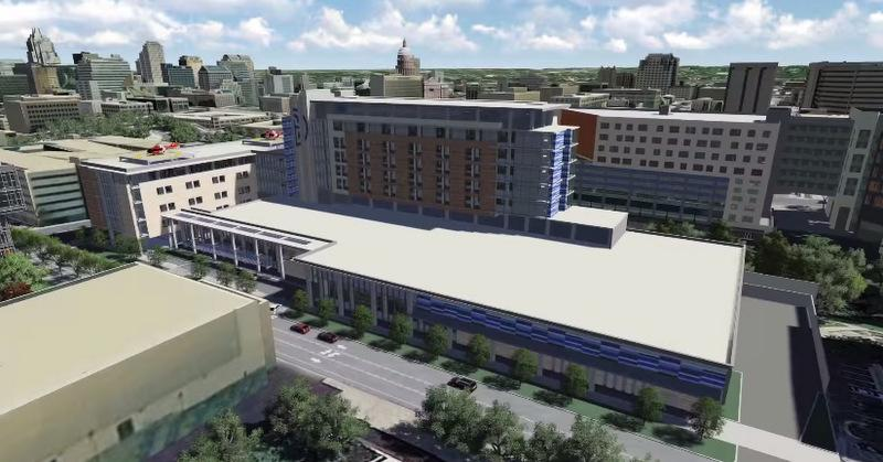 A rendering of the new Seton Medical Center at The University of Texas, part of the cluster of complexes accompanying UT's new Dell Medical School.