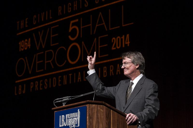 UT-Austin President Bill Powers welcomes guests to a panel at the LBJ School & Museum's Civil Rights Summit, on Wednesday, April 9, 2014.