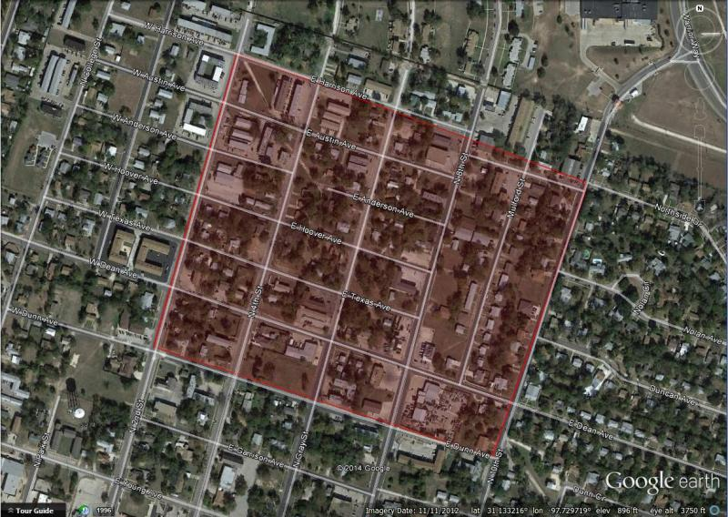 The evacuation radius in Killeen, Texas, bounded from North Second Street east to North 10th Street and from East Dunn Avenue to East Harrison Avenue.