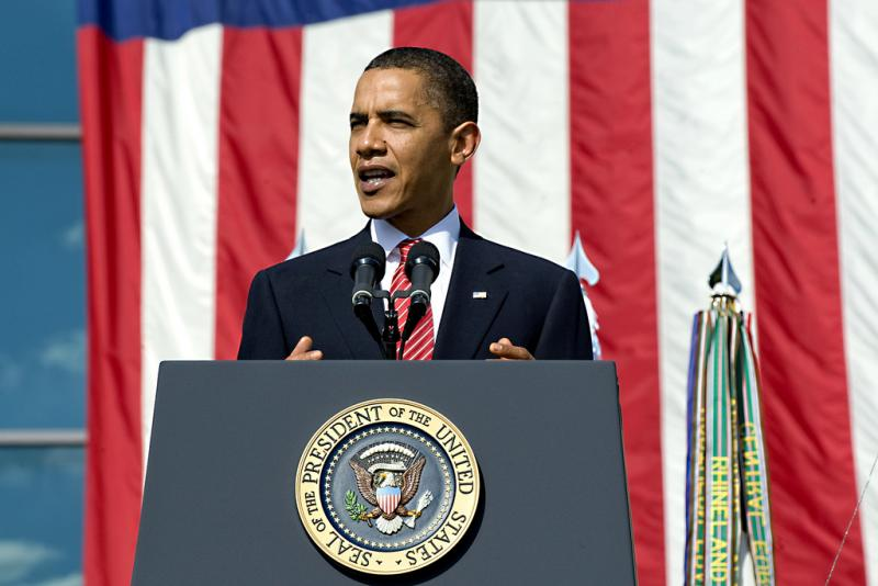 Pres. Barack Obama speaking at a memorial ceremony at Fort Hood, Nov. 10, 2009. Pres. Obama and first lady Michelle Obama return to Fort Hood on Wednesday.