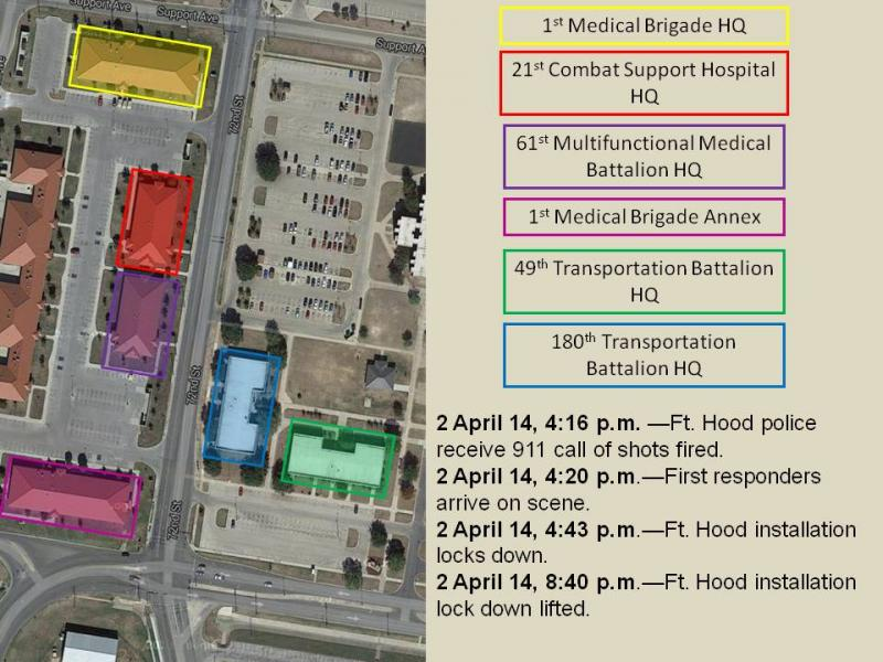 Fort Hood officials released this overview of the attack scene.