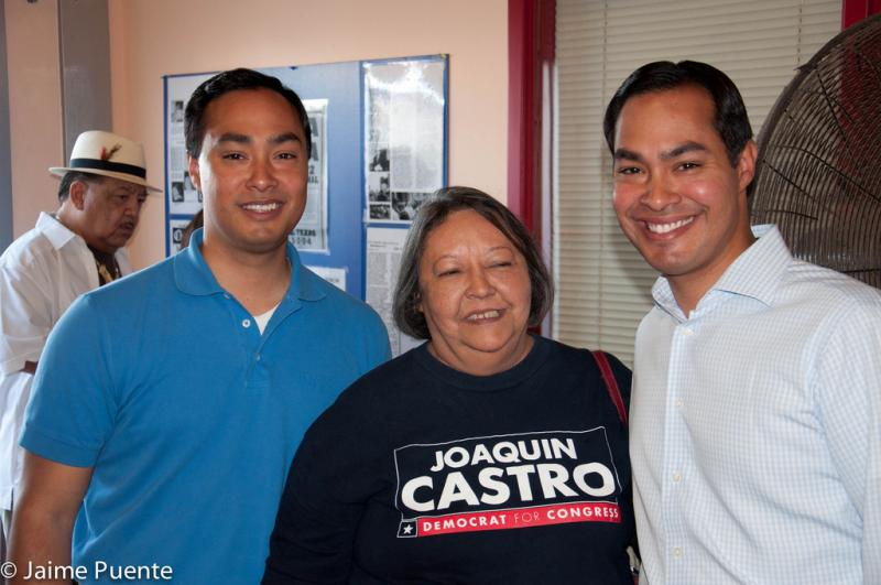 Rosie Castro with her two sons,  Congressman Joaquin Castro (Right), and Julián Castro (left) Mayor of San Antonio.