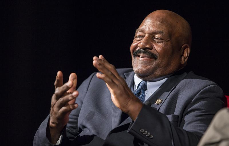 Football great Jim Brown told the crowd he was more interested in Civil Rights than being popular in the NFL.