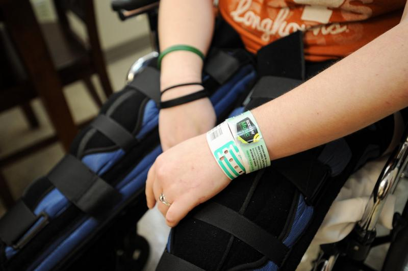 Endres still wears her SXSW pass at St. David's Rehabilitation Hospital. She joked that emergency room doctors cut off all of her clothes and jewelry, but left the pass on.