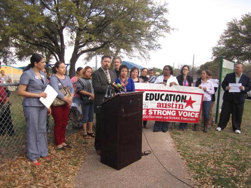 """Educators gathered in North Austin to say expanded pre-k is """"not a waste."""""""