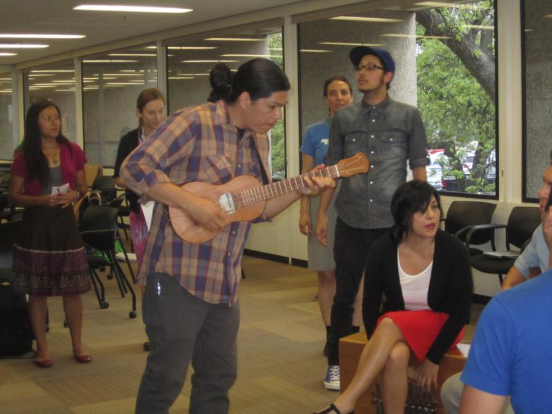 David Flores, Las Cafeteras during a UT workshop on racism.