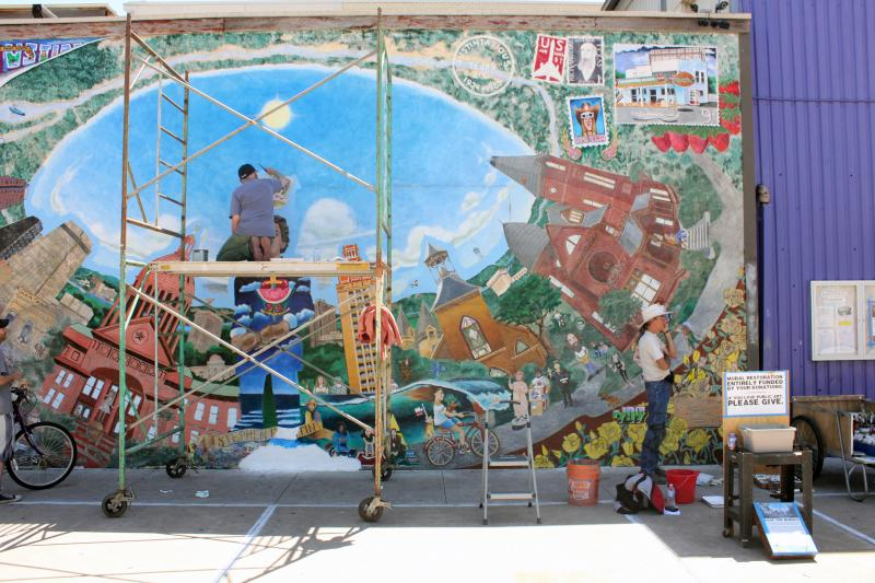 "A view of the ""Austintatious Mural,"" known to many for its depiction of Texas forefather Stephen F. Austin."