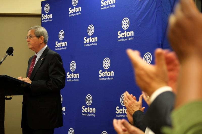 Jesús Garza, Seton's president, speaks at an event shortly before Seton's psychiatric emergency department opened its doors on April 29, 2014.