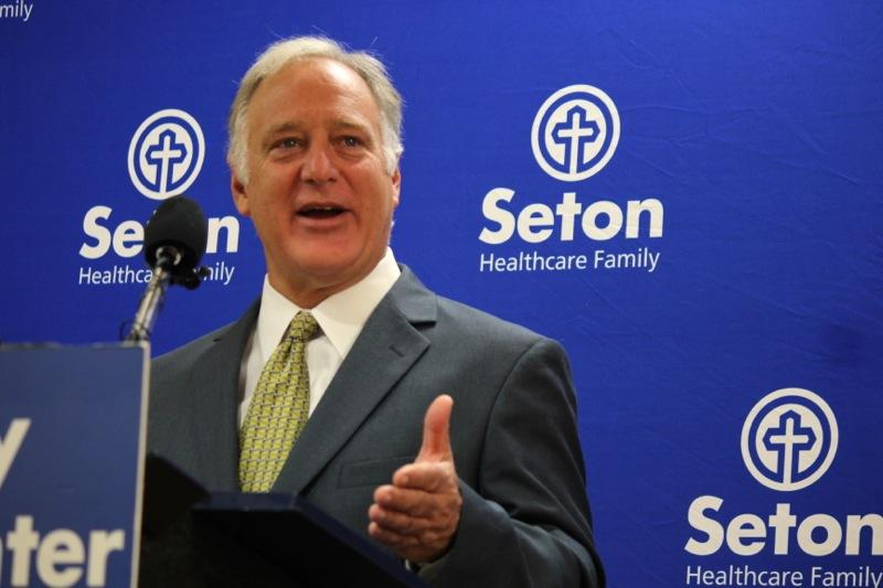 State Sen. Kirk Watson, D-Austin, speaks at an event shortly before Seton's psychiatric emergency department opened its doors on April 29, 2014.