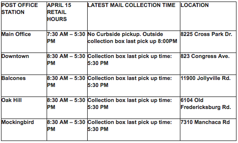 Austin USPS Tax Day hours.