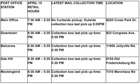 Austin USPS Tax Day hours.