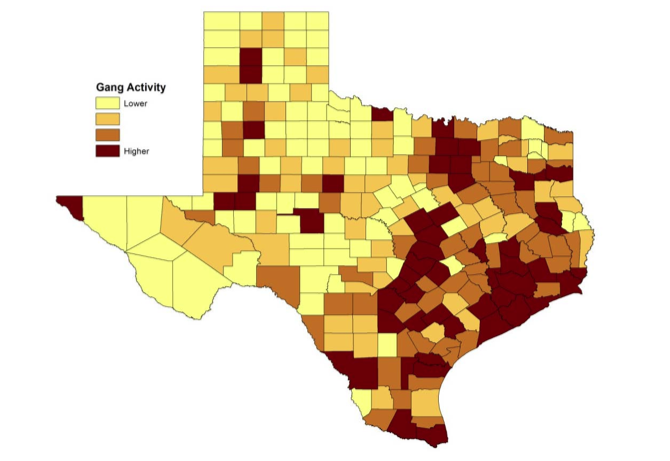 The report shows that Central Texas has a high concentration of gang activity.
