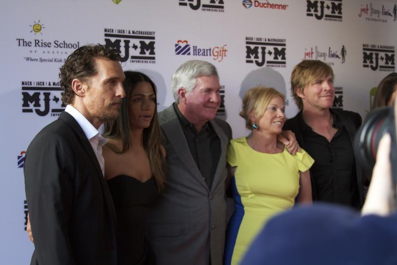 Matthew McConaughey, McConaughey's wife Camila Alves, Mack Brown, Sally Brown and Jack Ingram hit the red carpet at the second annual fundraiser for MJ&M.