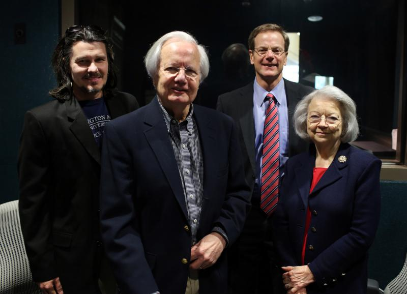 Texas Standard's David Brown (left) recently sat down with Bill, William and Judith Moyers for a discussion of addiction.