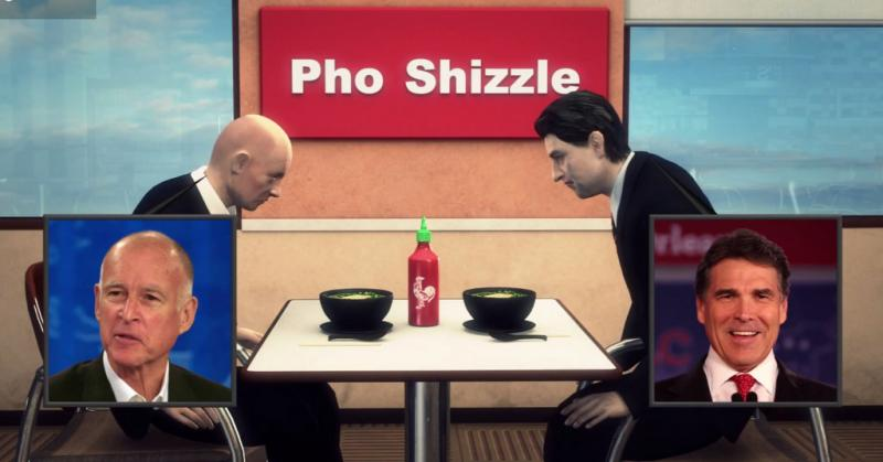 Governors Jerry Brown & Rick Perry hold a pho showdown over Sriracha in this animated clip.