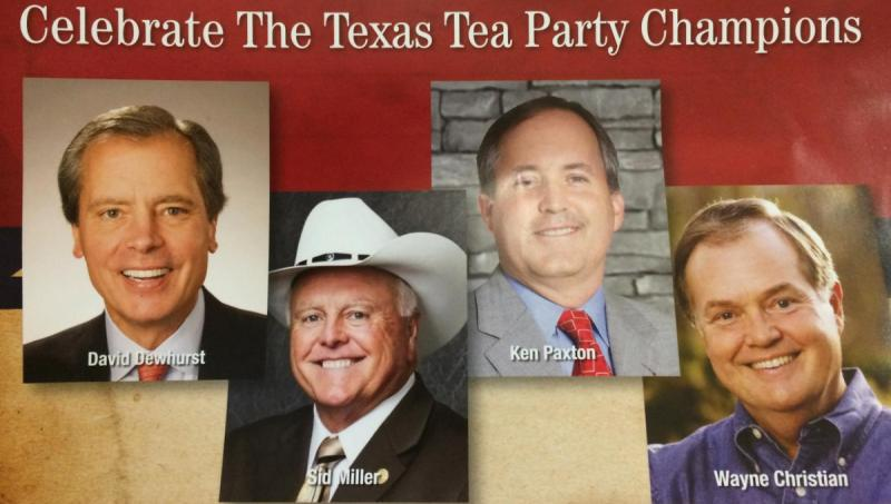 A mailer appearing across the state links incumbent Lt. Gov. David Dewhurst with Tea Party favorites.