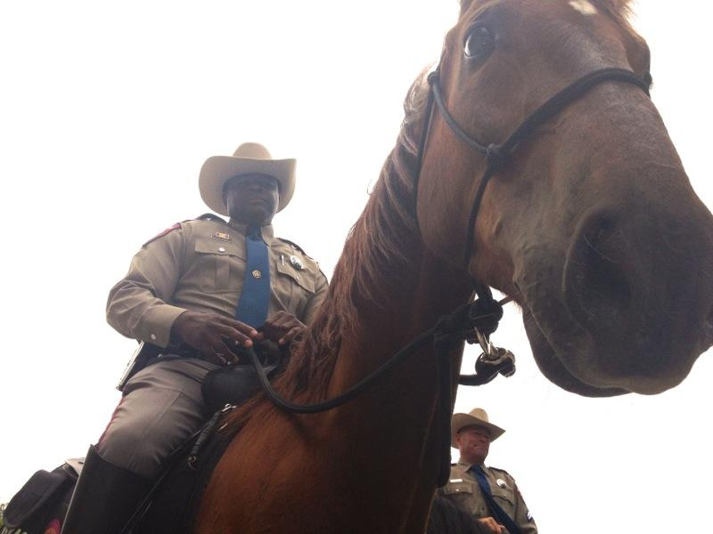 Texas Department of Public Safety Trooper Jerald Sams rides a DPS horse at the Texas State Capitol on May 6, 2014.