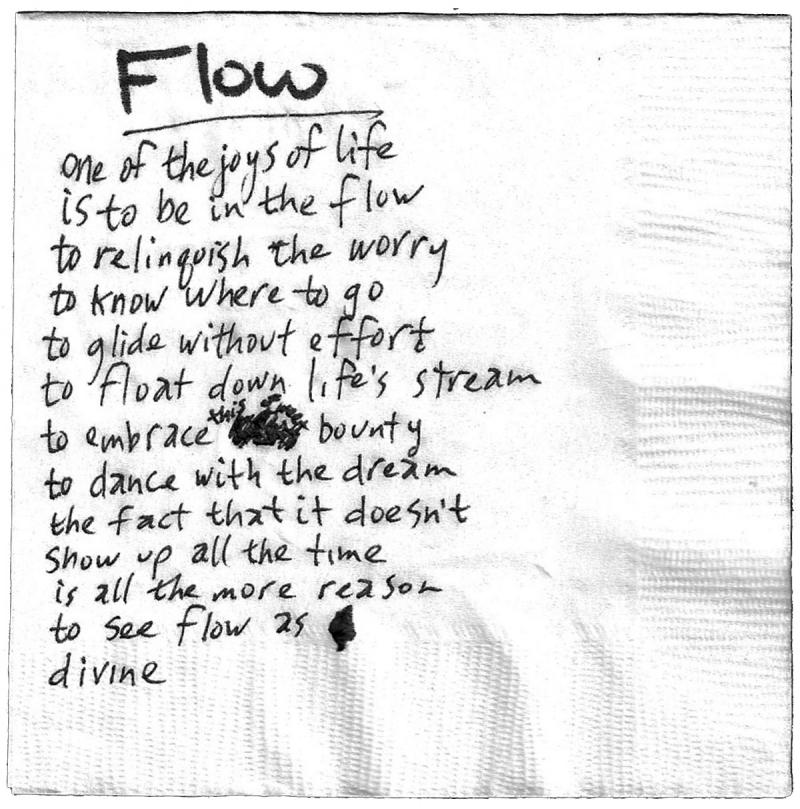 "A poem entitled ""Flow"" from ""Barstool Poetry: Best of Austin."""