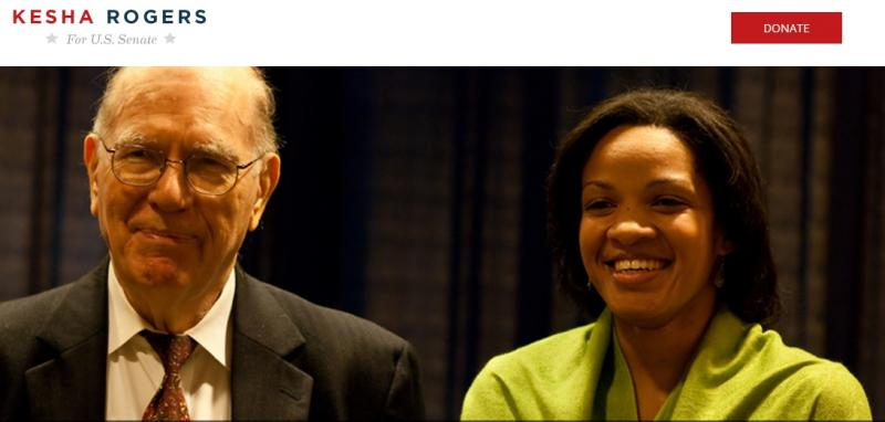 Democratic U.S. Senate Candidate Kesha Rogers (right) with her mentor Lyndon LaRouche